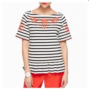 KATE SPADE - Stripe Embroidered Tee